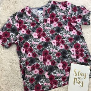 Tafford Gray with Pink Floral Pattern Scrub Top